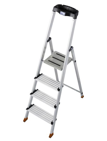 Stufen-Stehleiter »MONTO«, Anzahl Sprossen: 4, Aluminium | Baumarkt > Leitern und Treppen > Stehleiter | KRAUSE