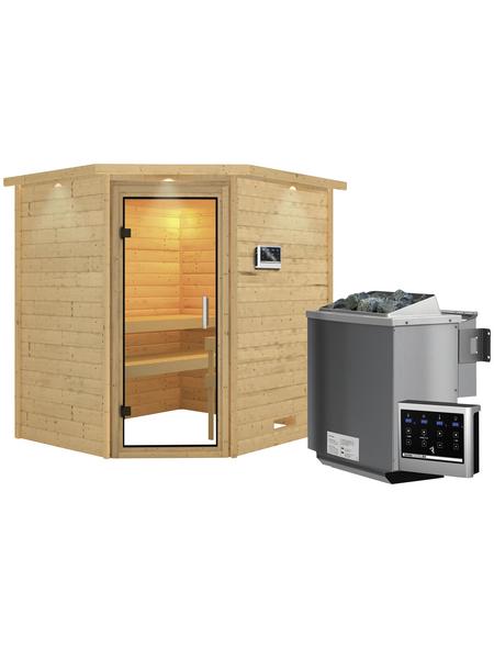 Sauna »Mia«, BxTxH: 224 x 184 x 184 cm, 9 kw, Bio-Kombi-Saunaofen, ext. Steuerung | Bad > Sauna & Zubehör > Saunaöfen | WOODFEELING