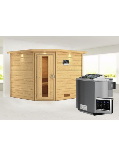 Sauna »Leona«, BxTxH: 259 x 245 x 245 cm, 9 kw, Bio-Kombi-Saunaofen, ext. Steuerung | Bad > Sauna & Zubehör > Saunaöfen | WOODFEELING