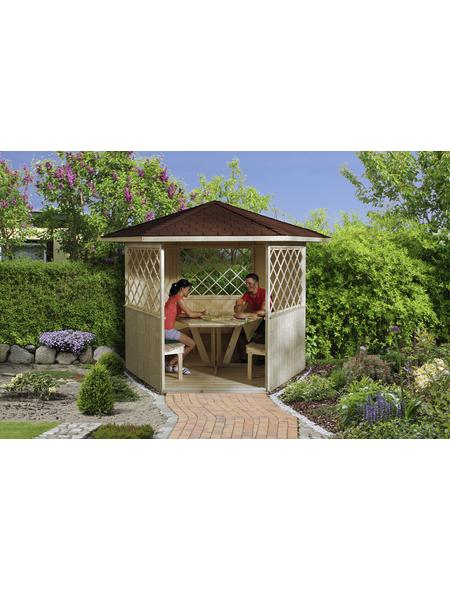 Sitzlaube, sechseckdach|zeltdach, sechseckig, BxT: 283 x 327 cm