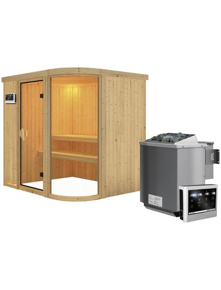 Sauna »Elva 2«, BxTxH: 196 x 151 x 151 cm, 9 kw, Bio-Kombi-Saunaofen, ext. Steuerung | Bad > Sauna & Zubehör > Saunaöfen | KARIBU