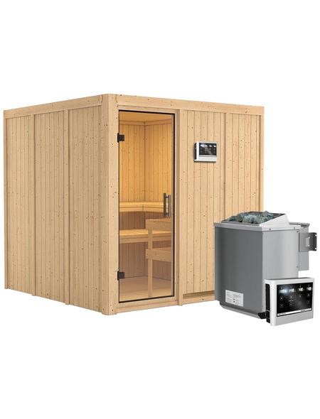 Sauna »Valga«, BxTxH: 196 x 196 x 196 cm, 9 kw, Bio-Kombi-Saunaofen, ext. Steuerung | Bad > Sauna & Zubehör > Saunaöfen | KARIBU