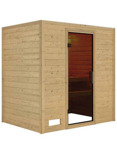 Sauna »Welonen«, ohne Ofen | Bad > Sauna & Zubehör > Saunen | Beige | Holz - Sicherheitsglas - Fichte | KARIBU