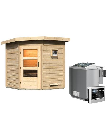 Saunahaus »Bauske«, BxTxH: 196 x 196 x 226 cm, 9 kW Bio-Kombi-Ofen mit ext. Steuerung | Baumarkt > Bad und Sanitär | KARIBU