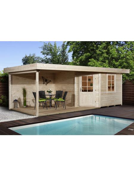 Gartenhaus-Set »Designhaus 213«, BxT: 586 x 278 cm (Aufstellmaße), Flachdach