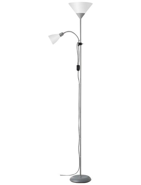 Deckenfluter weiß/silberfarben mit 60 W, 2-flammig, H: 180 cm, e14/e27 ohne Leuchtmittel | Lampen > Stehlampen > Deckenfluter | Kunststoff | Brilliant