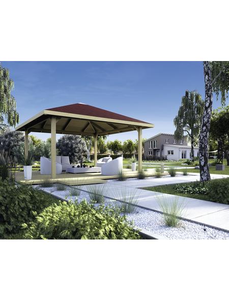 Sitzlaube »Paradies Größe 3«, Zeltdach, viereckig, BxT: 380 x 380 cm, inkl. Dacheindeckung