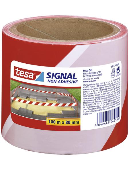 TESA Absperrband, rot/weiß, Breite: 8 cm, Länge: 100 m