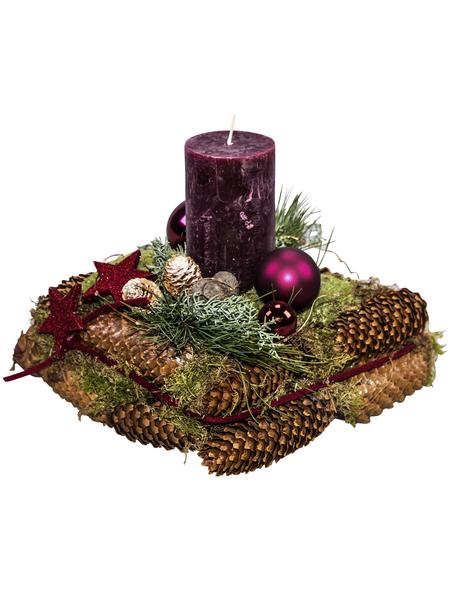Adventsgesteck, altrot dekoriert