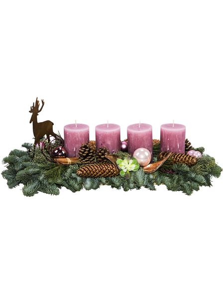 Adventsgesteck, antikrosa dekoriert