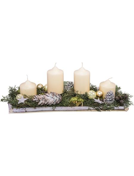 Adventsgesteck, creme dekoriert