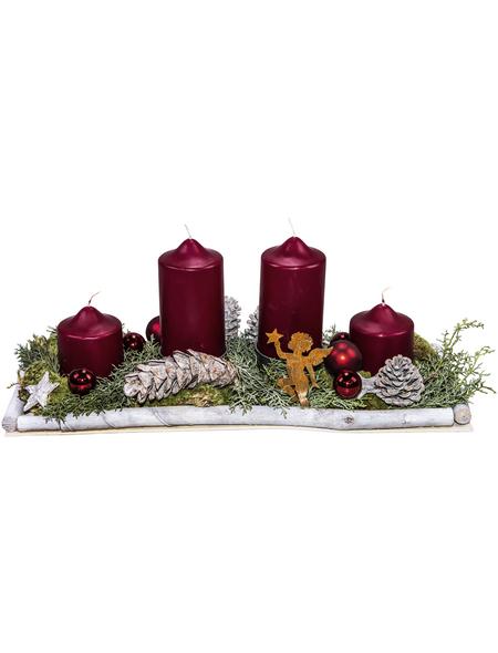 Adventsgesteck, karminrot dekoriert