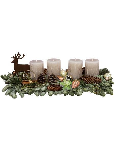Adventsgesteck, sahara dekoriert mit Hirsch