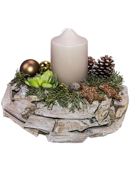 Adventsgesteck, sand dekoriert