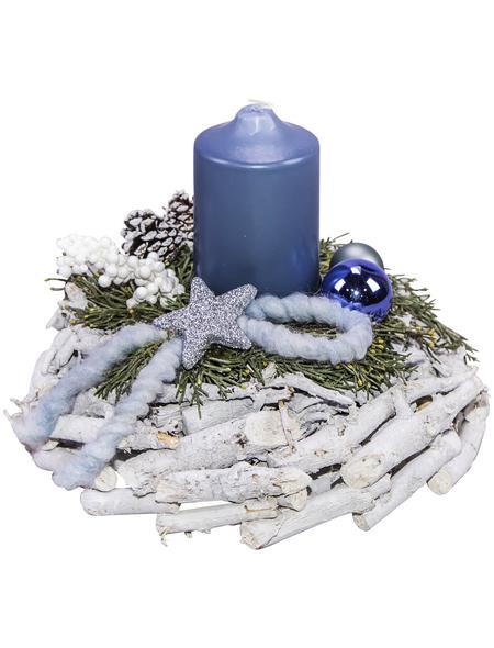 Adventsgesteck, saphir dekoriert