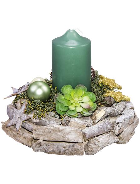 Adventsgesteck, smaragd dekoriert