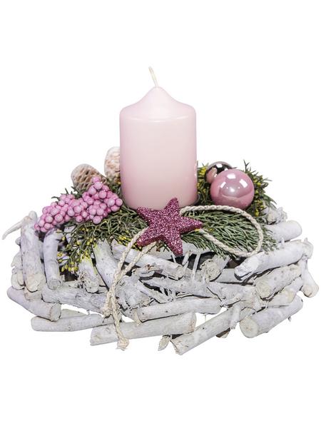 Adventsgesteck, softrosa dekoriert