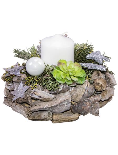 Adventsgesteck, weiß dekoriert