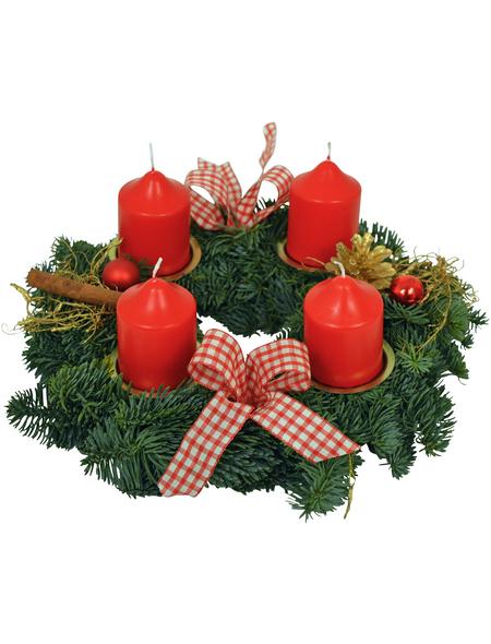 Adventskranz, Edeltanne, Ø: 25 cm, rot dekoriert