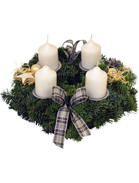 GARTENKRONE Adventskranz, Edeltanne, Ø: 25 cm, weiß dekoriert