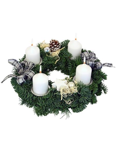 GARTENKRONE Adventskranz, Edeltanne, Ø: 30 cm, weiß dekoriert