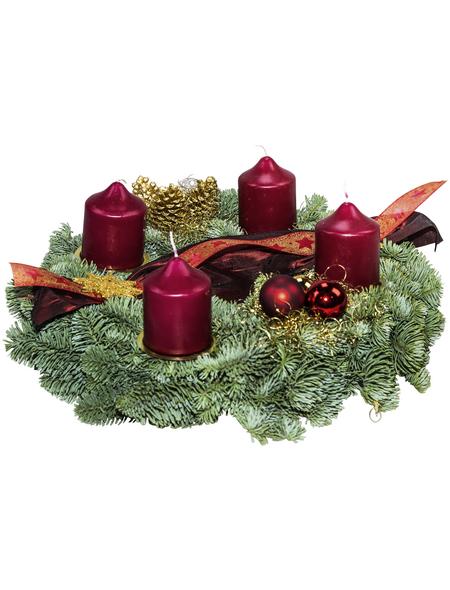 Adventskranz, Edeltanne, Ø: 35 cm, rot dekoriert