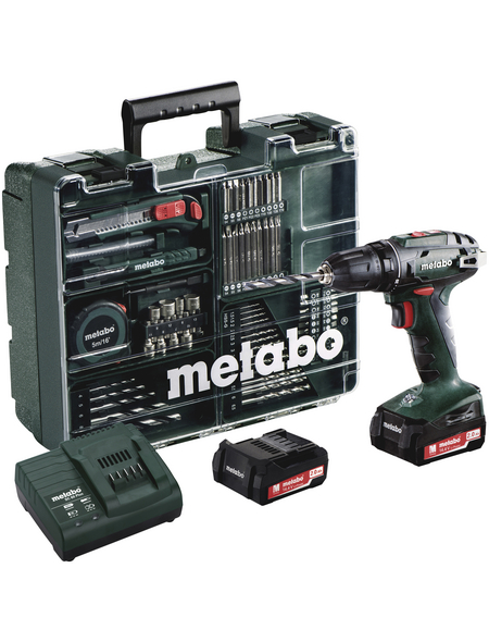 METABO Akku-Bohrschrauber-Set BS 14.4 14,4 V 2 Ah 80-tlg.