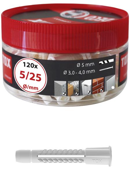 TOX Allzweckdübel, Polyethylen, 120 Stück, 5 x 25 mm