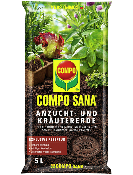 COMPO Anzucht- und Kräutererde »COMPO SANA® «, für Setzlinge, Sämereien, Kräuter