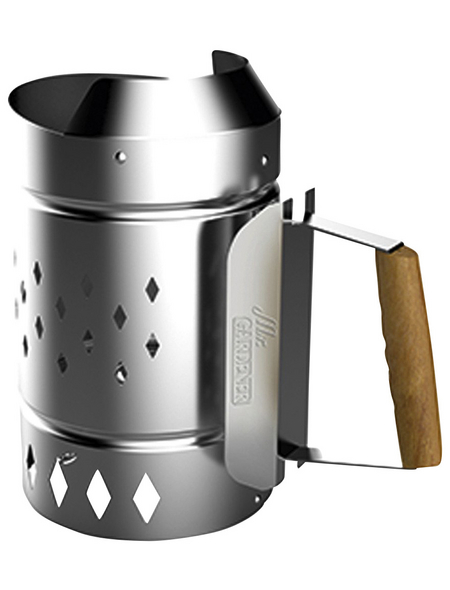 MR. GARDENER Anzündkamin »XL«, Stahl, verzinkt, BxHxT: 19,5 x 32,5 x 31,5 cm, silberfarben/braun