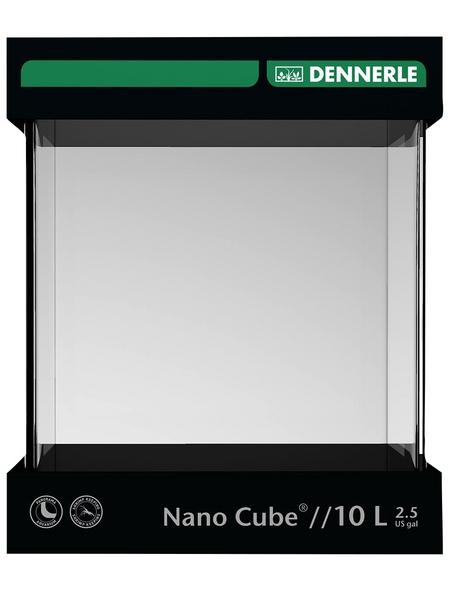 DENNERLE Aquarium, NanoCube, 10 l, Abdeckscheibe, Scaper's Back - Rückwandfolie schwarz, Schaumstoffunterlage