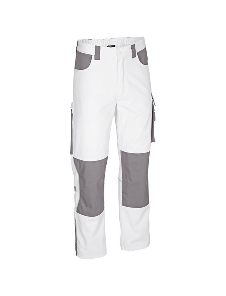 SAFETY AND MORE Arbeitshose EXTREME Polyester/Baumwolle weiß/grau Gr. S