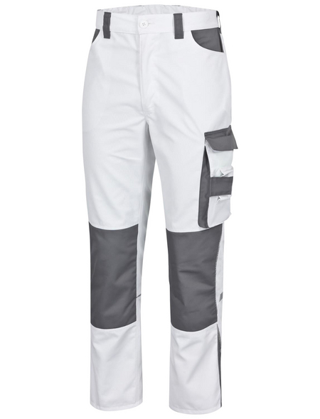 SAFETY AND MORE Arbeitshose EXTREME Polyester/Baumwolle weiß/grau Gr. XL