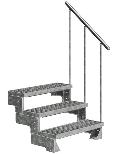 DOLLE Außentreppe »Gardentop«, 3 Gitterroststufen, silber, 54 cm Geschosshöhe