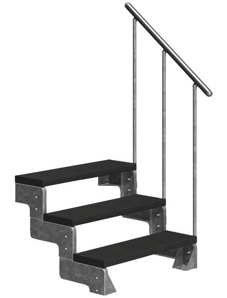 DOLLE Außentreppe »Gardentop«, 3 Vollstufen, anthrazit, 54 cm Geschosshöhe