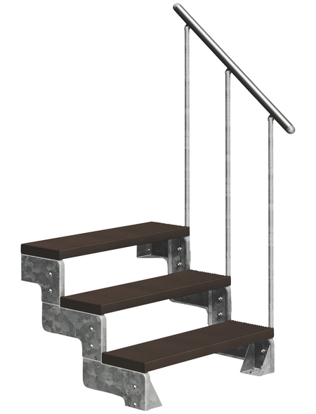 DOLLE Außentreppe »Gardentop«, 3 Vollstufen, braun, 54 cm Geschosshöhe
