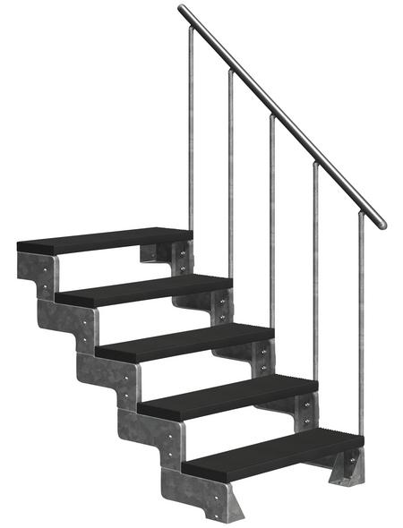 DOLLE Außentreppe »Gardentop«, 5 Vollstufen, anthrazit, 90 cm Geschosshöhe