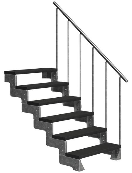DOLLE Außentreppe »Gardentop«, 6 Vollstufen, anthrazit, 108 cm Geschosshöhe