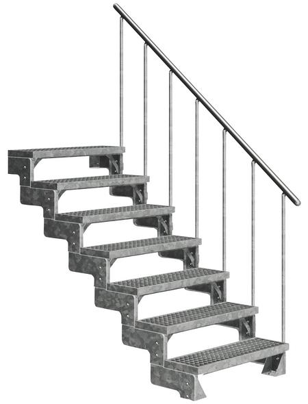 DOLLE Außentreppe »Gardentop«, 7 Gitterroststufen, silber, 126 cm Geschosshöhe