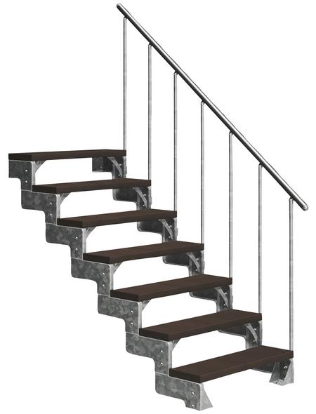 DOLLE Außentreppe »Gardentop«, 7 Vollstufen, braun, 126 cm Geschosshöhe
