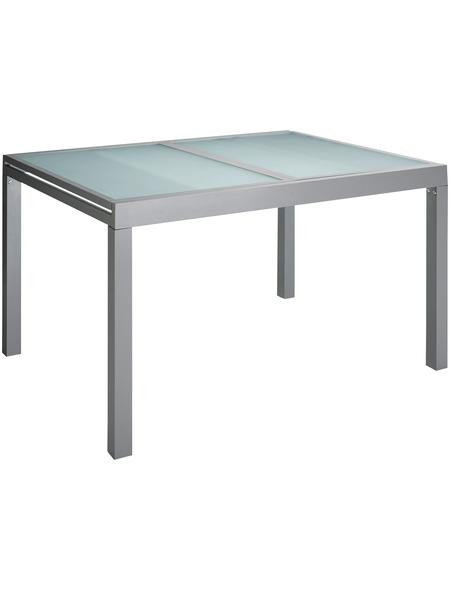 Ausziehtisch, mit Sicherheitsglas-Tischplatte, BxTxH: 90 x 200 x 75 cm