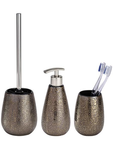 WENKO Bad-Accessoire-Set »Marrakesh«, Keramik, glänzend, braun