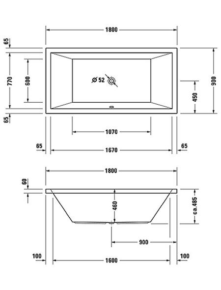 DURAVIT Badewanne »Starck«, L x B: 180 cm x 90 cm