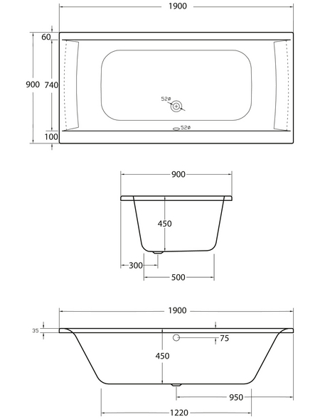 OTTOFOND Badewannen-Set »Duo«, BxHxL: 90 x 45 x 190 cm, Körperform