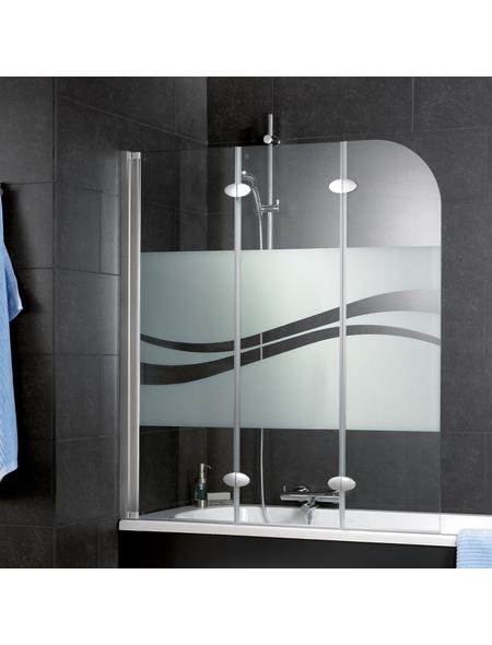 SCHULTE Badewannenfaltwand, B x H: 140  x 125  cm, Glas (ESG)