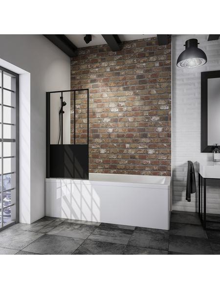 SCHULTE Badewannenfaltwand »Black Style Komfort«, B x H: 80  x 140  cm, Glas (ESG)