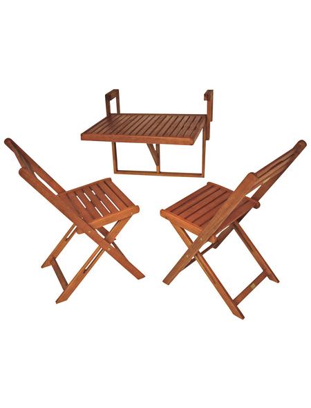 GARDEN PLEASURE Balkon-Hängetisch-Set »Berkeley«, 2 Sitzplätze, Eukalyptus