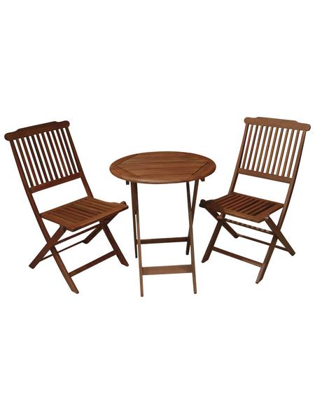 GARDEN PLEASURE Balkontischgruppe »Prag«, 2 Sitzplätze, aus Eukalyptusholz