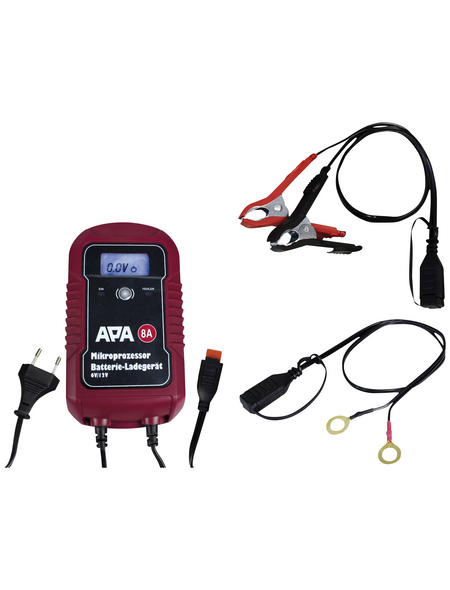 APA Batterieladegerät, 11,5 x 20,5 x 6 cm, 6/12 V, 8 A, Rot | Schwarz