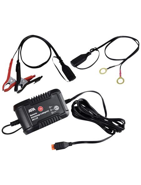 APA Batterieladegerät, 15 x 9 x 6 cm, 6/12 V, 1 A, Schwarz